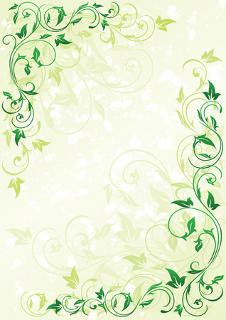 green leaves border: Decorative grunge background with floral elements, illustration