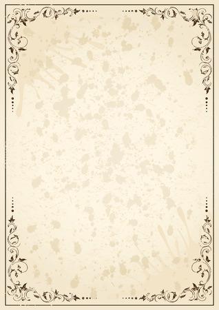 Old grunge paper with floral elements, illustration Vector