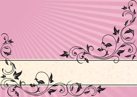Romantic pink background with ornate elements, illustration