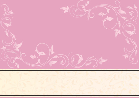Romantic pink background with ornate elements, illustration Vector