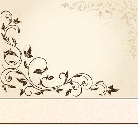 bordure vigne: Arri�re-plan de grunge d�coratifs avec les �l�ments floraux, illustration