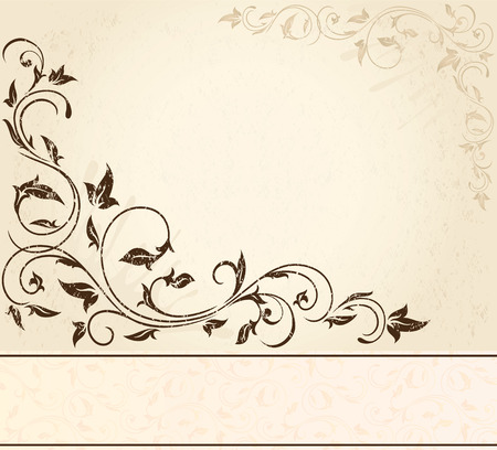beige: Decorative grunge background with floral elements, illustration