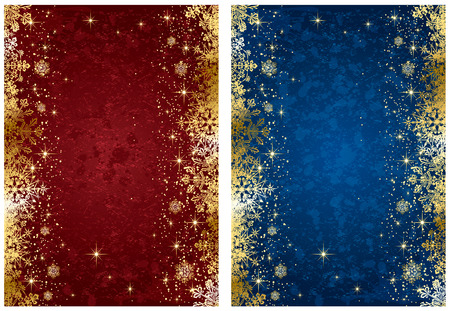 blue gold: Abstract winter backgrounds, with stars and snowflakes, illustration Illustration