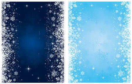 Abstract winter blue backgrounds, with stars and snowflakes, illustration Vector
