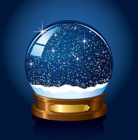 gold globe: Christmas Snow globe with the falling snow, illustration Illustration