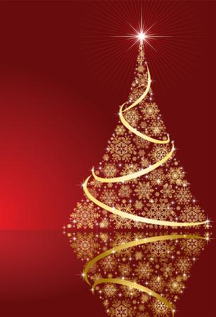 goldy: Sfondo astratto, con le stelle, fiocchi di neve e albero di Natale, illustrazione