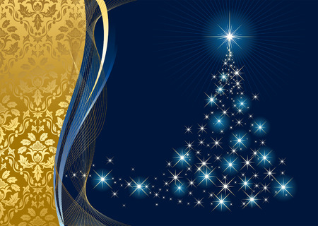 goldy: Abstract background, with stars and Christmas tree, illustration Illustration