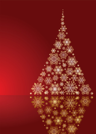 goldy: Abstract background, with stars, snowflakes and Christmas tree, illustration