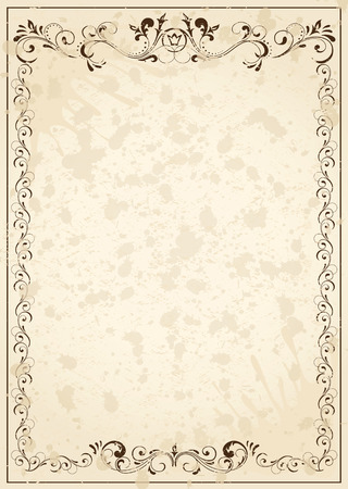 victorian border: Old grunge paper with floral elements, illustration Illustration
