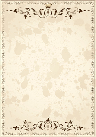 Antiguo papel de grunge, con elementos florales, ilustración