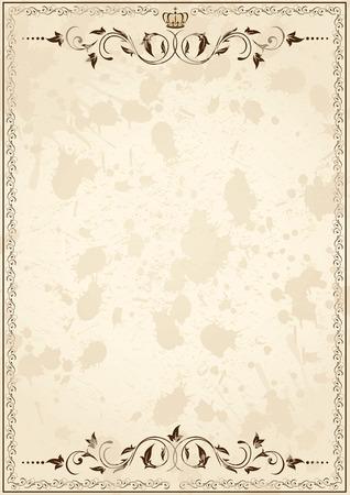 Vecchia carta grunge con elementi floreali, illustrazione