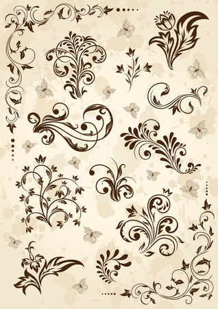swirl floral: Old grunge paper with floral elements, illustration Illustration