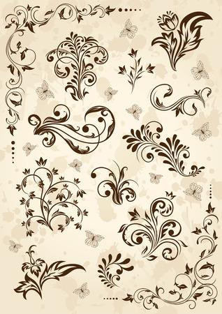 old grunge paper: Old grunge paper with floral elements, illustration Illustration