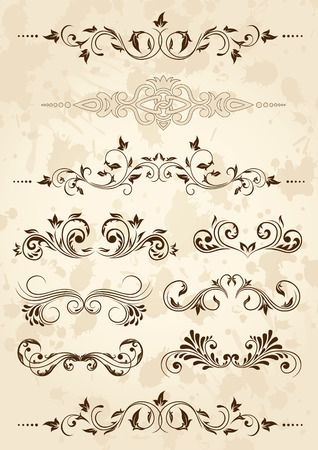 rococo: Old grunge paper with floral elements, illustration Illustration