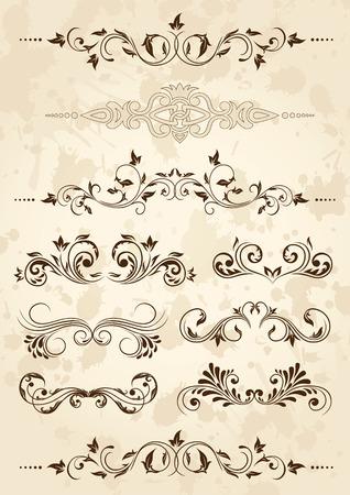rend: Old grunge paper with floral elements, illustration Illustration