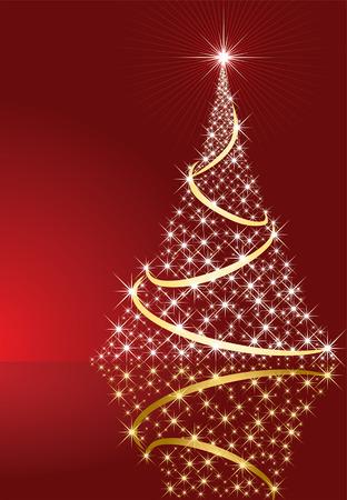 goldy: Fondo abstracto, con estrellas y �rboles de Navidad, ilustraci�n