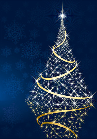 goldy: Fondo abstracto, con estrellas, copos de nieve y �rboles de Navidad, ilustraci�n