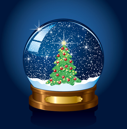 Christmas Snow globe with the falling snow, illustration Stock Vector - 7929875