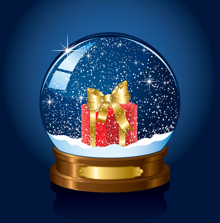 Christmas Snow globe with the falling snow, illustration Stock Vector - 7929874