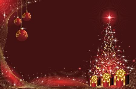 goldy: Fondo con estrellas y �rbol de Navidad de elementos ornamentados, ilustraci�n