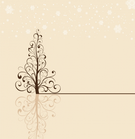 Background with snowflakes and Christmas tree from ornate elements, illustration Vector