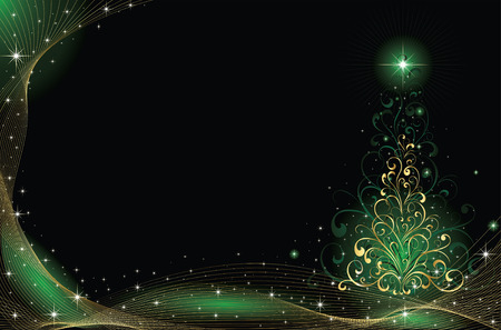 goldy: Background with stars and Christmas tree from ornate elements, illustration