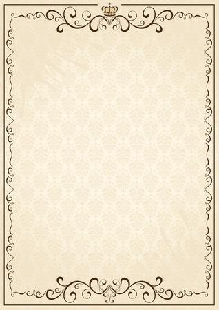 fancy border: Antiguo papel de grunge, con elementos florales, ilustraci�n