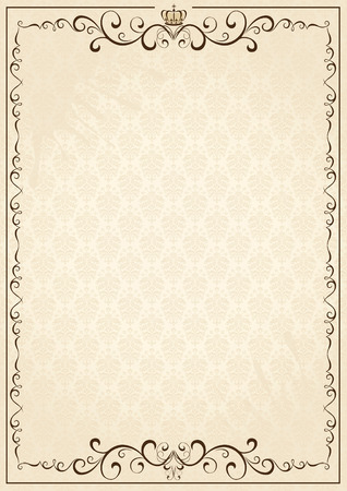 victorian border: Old grunge paper with floral elements, illustration Illustration