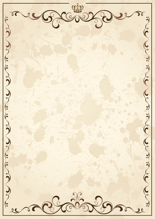 fancy border: Old grunge paper with floral elements, illustration Illustration