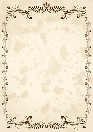 Old grunge paper with floral elements, illustration Vector