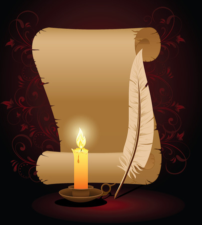 papyrus: Background with old paper, candle and feather, illustration Illustration