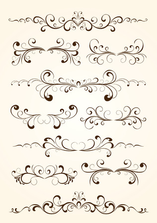 victorian border: Set of floral elements for decor, Illustration