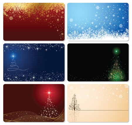 plastic card: Set of cards with Christmas tree, stars and snowflakes, illustration