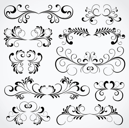 Set of floral elements for decor, Illustration Vector