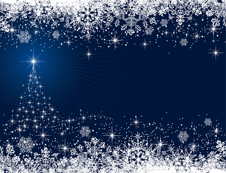 Abstract winter blue background, with stars, snowflakes and Christmas tree, illustration Stock Vector - 8007956