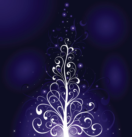 Background, with stars and Christmas tree from ornate elements, illustration Vector