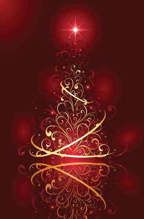 goldy: Sfondo con stelle e albero di Natale da elementi ornati, illustrazione Vettoriali