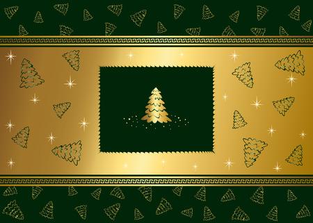 goldy: Fondo de invierno abstracto, con estrellas y �rboles de Navidad, ilustraci�n