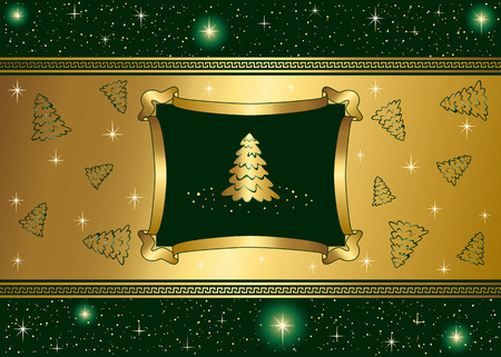 goldy: Abstract winter background, with stars and Christmas tree, illustration