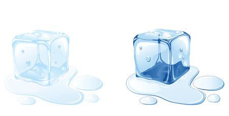 cubetti di ghiaccio: Cubetto di ghiaccio sulla superficie dell'acqua, illustrazione