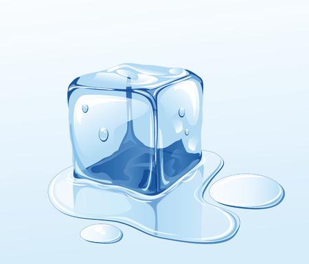 Cubo de hielo sobre la superficie del agua, ilustración  Ilustración de vector