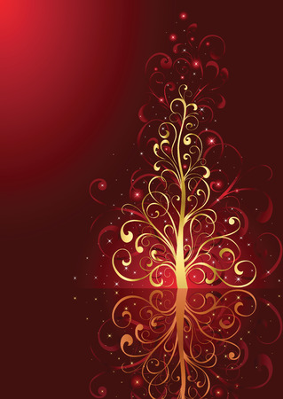 Background with stars and Christmas tree from ornate elements, illustration Vector