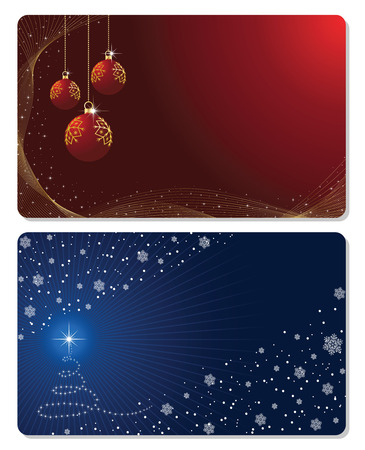 scintillation: Set of cards with Christmas tree, Christmas balls stars and snowflakes, illustration Illustration