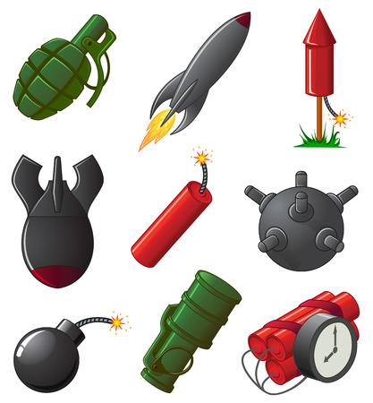 nuclear bomb: Conjunto de nueve iconos explosivos, ilustraci�n  Vectores
