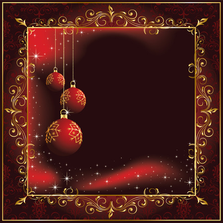 goldy: Background with stars and Christmas balls, illustration Illustration