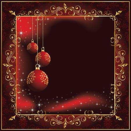 goldy: Sfondo con stelle e palle di Natale, illustrazione