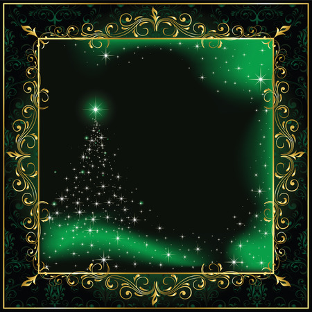 Background with stars and Christmas tree, illustration Illustration