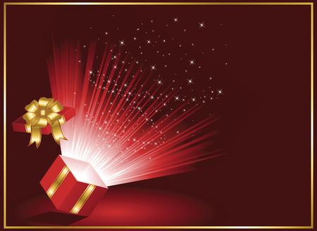 Open magic Gift box, illustration