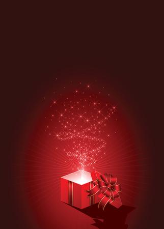 boite carton: Ouvrez la bo�te magique de cadeau, illustration Illustration