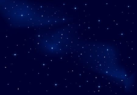 night sky: Night background, shining Stars on dark blue sky, illustration Illustration